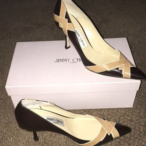 Jimmy Choo Brown & Tan Pointy Toe Heels
